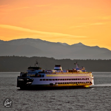 Ferry at Sunset in Edmonds, WA